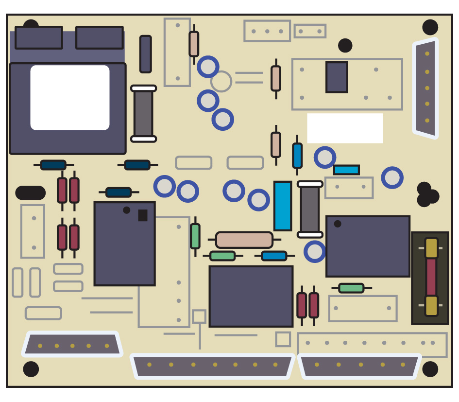 illustration Faulty circuit board