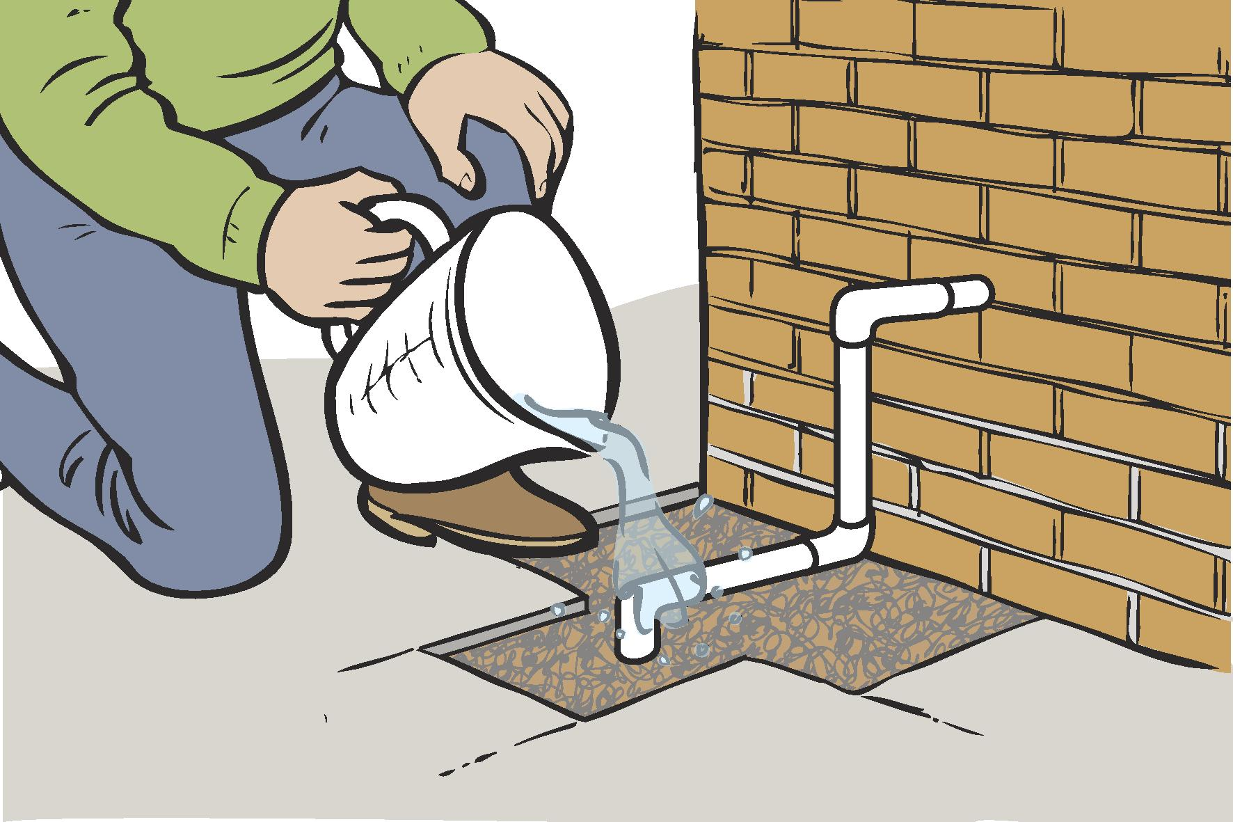 Pour warm water on the pipe